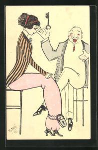 Künstler-AK sign. E. Novi: Mann hält lachend den Schlüssel für die Fussketten einer jungen Frau