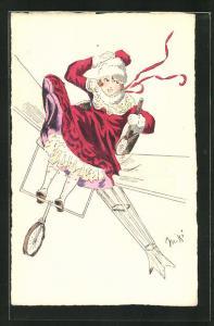 Künstler-AK sign. Miki: Frau im roten Mantel in einem Flugzeug sitzend