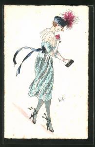 Künstler-AK sign. Miki: Frau in blauem Kleid mit Hut