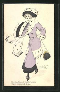 Künstler-AK sign. Ginis: Dame in einen schönen Pelzmantel gekleidet