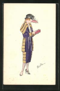 Künstler-AK sign. Miette: Junge Frau in modischem Kleid mit Hut