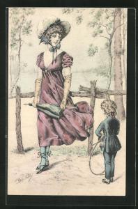 Künstler-AK sign. Rene Gilles: Junge Frau mit Knaben auf einem Pfad im Birkenwäldchen