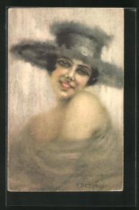 Künstler-AK sign. M. Bettinelli: Lachende Frau mit Hut
