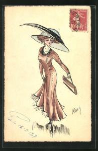 Künstler-AK sign. Raby: Elegante Dame mit grossem Hut