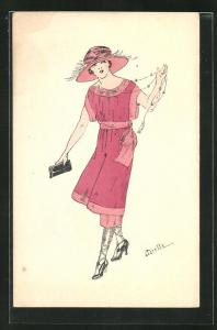 Künstler-AK sign. Miette: Frau im roten Kleid mit Hut