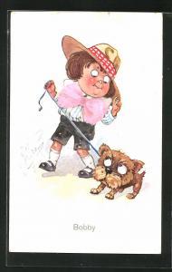 Künstler-AK sign. Wilson: Knabe auf einem Spaziergang mit dem Hund
