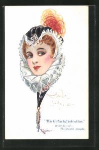 Künstler-AK sign. R. Ellett: The Girl he left behind him, Spanish Armada, Dame mit Halskrause
