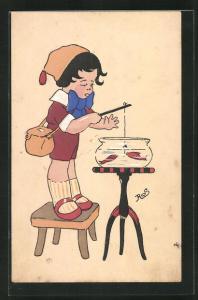 Künstler-AK sign. Ros: Junge mit grosser blauer Schleife angelt Fische aus Goldfischglas
