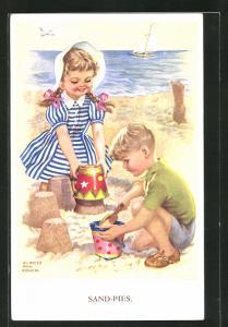 Künstler-AK sign. Gladys Ann Couch: Junge und Mädchen bauen Sandkuchen an Strand, Sand-Pies
