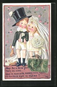 Künstler-AK sign. M. Alys: Bräutigam in kurzen Hosen und Braut in kurzem Kleid, Rosen