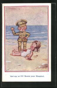 Künstler-AK sign. Ludgate: Soldat an Strand vor Frau in Badeanzug mit rotem Kreuz, Get up, or I`ll bomb your Hospital