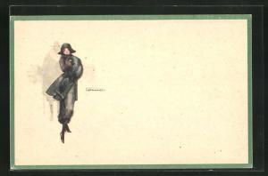 Künstler-AK sign.Lenhart: junge Dame im Mantel mit Hut