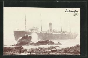 AK Wrack des White Star Liners Suevic, Havariert an der Küste von Cornwall am 17.3.1907