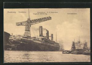 AK Hamburg, Postdampfer Imperator unter dem Riesenkran