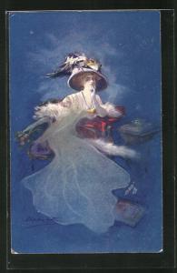Künstler-AK sign.E. Occhipinti: Frau im Kleid mit Hut