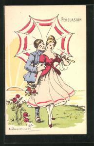 Künstler-AK sign.E. Occhipinti: Paar mit Sonnenschirm auf einer Wiese, Persuasion