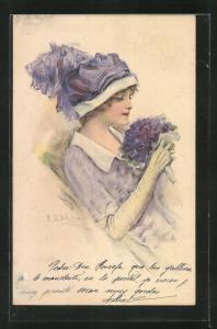 Künstler-AK sign. Ditzler: schönes Fräulein mit Hut und lilafarbenen Blumen