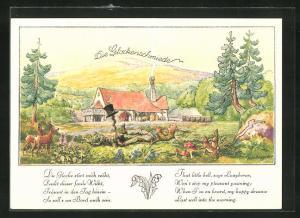 Künstler-AK Glockenabend, der Glockenschmied schläft auf der Blumenwiese