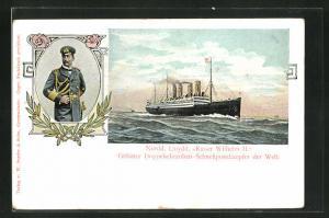 AK Passagierschiff, Kaiser Wilhelm II, Doppelschrauben-Schnellpostdampfer unter Dampf, Kaiser Wilhelm II in Uniform