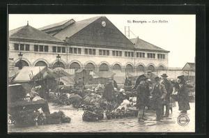 AK Bourges, Les Halles, Marktstände