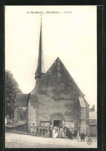 AK St-Palais, L`Eglise, Hochzeitsgesellschaft vor der Kirche