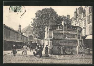 AK Blois, La Fontaine Louis XII.