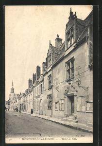 AK Montoire-sur-le-Loir, L`Hotel de Ville, Strassenpartie am Rathaus