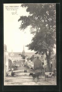 AK Pont-Croix, Quartier de la Croix, Route de Beuzec, Blick in den Ort