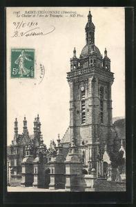 AK Saint-Thégonnec, Le Clocher et l`Arc de Triomphe, Kirche