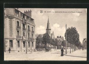 AK Dijon, Le Boulevard de Brosses et le Temple Protestant
