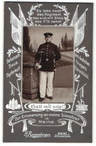 Fotografie H. Ranzenberger, Mainz, Portrait Soldat in Uniform, Regiment 87 Mainz