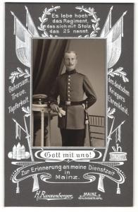 Fotografie H. Ranzenberger, Mainz, Portrait Soldat in Uniform, Regiment 25 Mainz