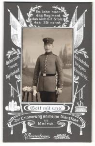 Fotografie H. Ranzenberger, Mainz, Portrait Soldat in Uniform, Regiment 3 Mainz