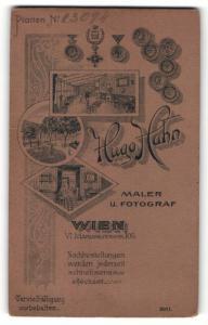 Fotografie Hugo Hahn, Wien, rücks. Ansicht Wien, Atelier Mariahilferstr. 105, vorders. Portrait junger Herr