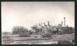 Fotografie Ansicht Flavy-le-Martel, zerstörte Zuckerfabrik, Trümmer & Ruine, 1.WK