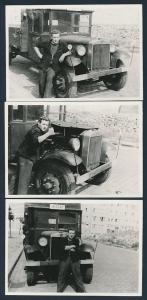 3 Fotografien Lastwagen, Fahrer mit LKW-Pritsche in Berlin, Kennzeichen: IH22-47