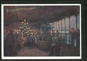 Künstler-AK Hans Bohrdt: Weihnachten an Bord eines Kreuzers