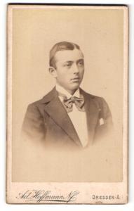 Fotografie Adolf Hoffmann, Dresden-A., Junger Mann mit gestreifter Fliege und Einstecktuch