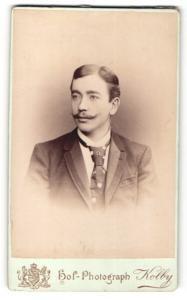 Fotografie J. F. Kolby, Zwickau, Mann im Anzug mit Moustache Bart und breitem Binder
