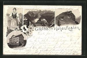 Vorläufer-Lithographie Schwendi, 1895, Dörigs Gasthaus zum Hohenkasten, Appenzellerin in Tracht