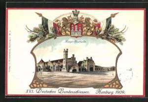 Präge-AK Hamburg, XVI. Deutsches Bundesschiessen 1909, Haupt-Festhalle