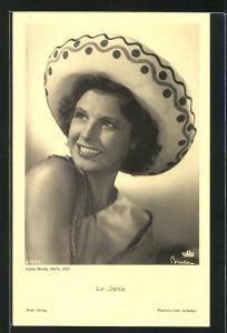 AK Schauspielerin La Jana mit mexikanischem Hut