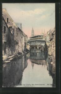 AK Bayeux, Vue sur l`Aure, Rue Saint-Laurent