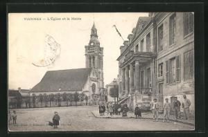 AK Viarmes, L`Eglise et la Mairie