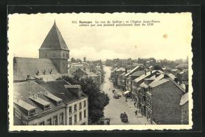 AK Bastogne, La rue du Sablon et Eglise St-Pierre