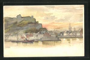 Künstler-AK Namur, Ortsansicht mit Brücke