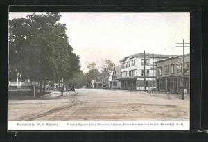 AK Henniker, NH, Proctor Square from Western Avenue, Henniker Inn on the left