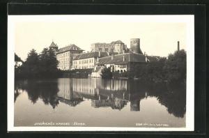 AK Neuhaus / Jindrichuv Hradec, Zamek, Uferpartie am Schloss