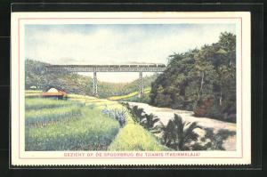 Künstler-AK Tjiamis, Gezicht op de Spoorbrug, Landschaftsidyll mit Eisenbahnbrücke