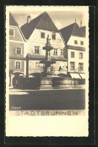 AK Steyr, Partie am Stadtbrunnen